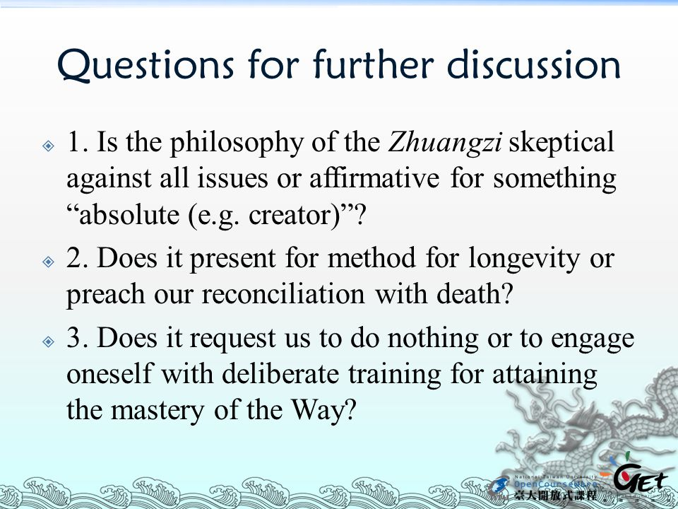 Questions for further discussion  1.