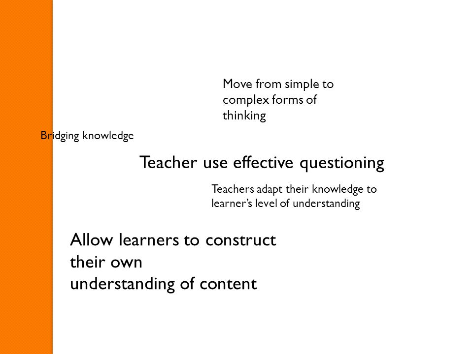 Teacher use effective questioning Bridging knowledge Move from simple to complex forms of thinking Allow learners to construct their own understanding of content Teachers adapt their knowledge to learner's level of understanding