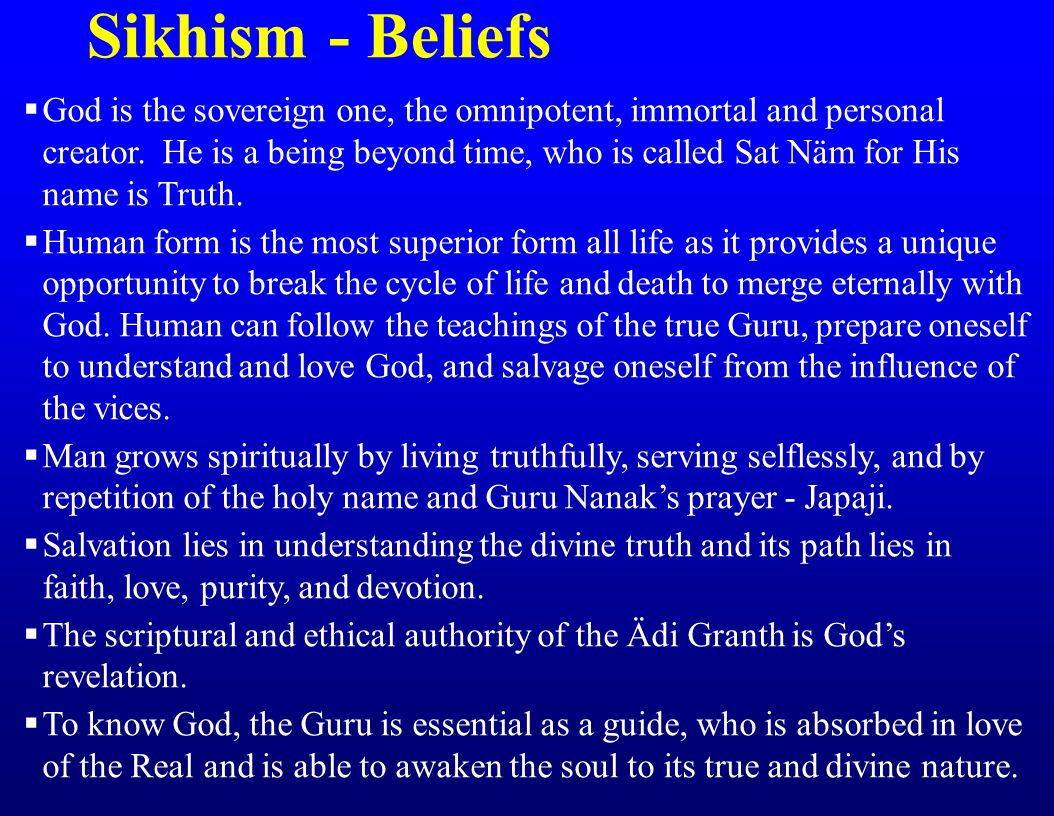 Sikhism - Beliefs  God is the sovereign one, the omnipotent, immortal and personal creator.