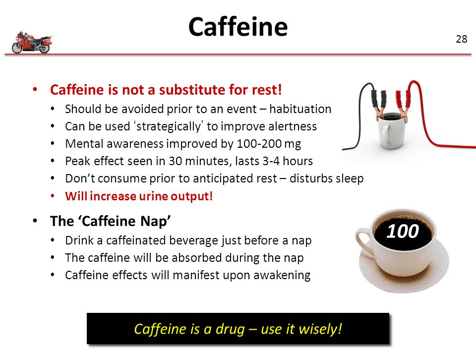28 100 Caffeine is not a substitute for rest.