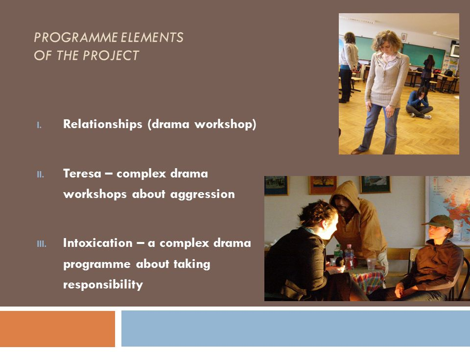 PROGRAMME ELEMENTS OF THE PROJECT I. Relationships (drama workshop) II. Teresa – complex drama workshops about aggression III. Intoxication – a comple