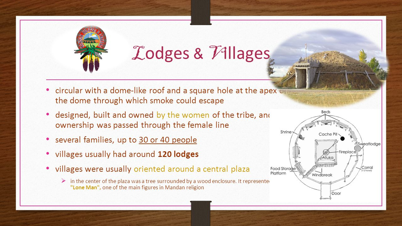 L odges & V illages circular with a dome-like roof and a square hole at the apex of the dome through which smoke could escape designed, built and owned by the women of the tribe, and ownership was passed through the female line several families, up to 30 or 40 people villages usually had around 120 lodges villages were usually oriented around a central plaza  in the center of the plaza was a tree surrounded by a wood enclosure.