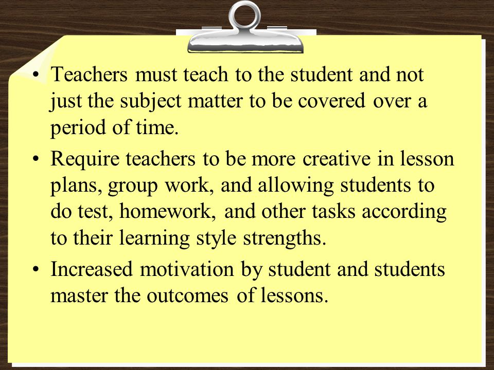 Teachers must teach to the student and not just the subject matter to be covered over a period of time.