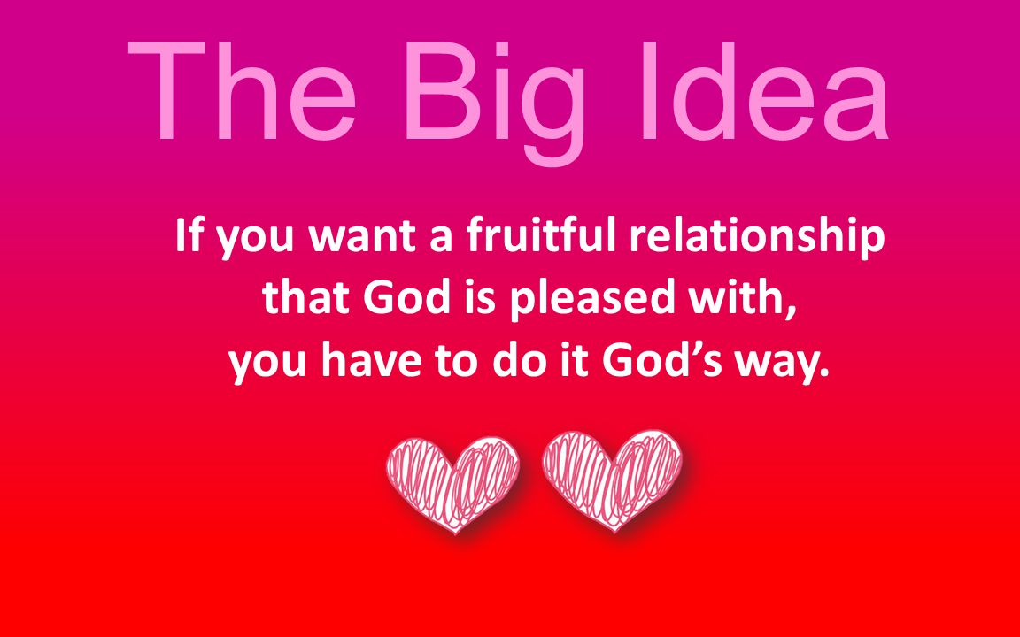 The Big Idea If you want a fruitful relationship that God is pleased with, you have to do it God's way.