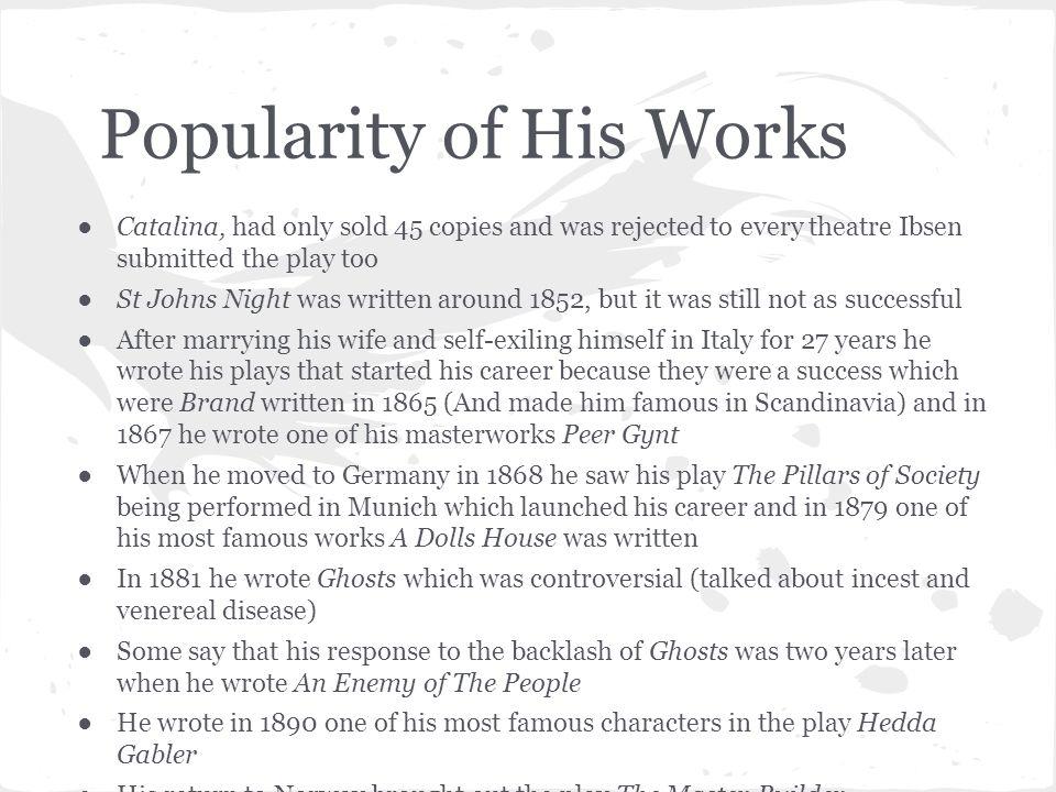 Bibliography http://www.biography.com/people/henrik-ibsen-37014?page=2 http://www.gradesaver.com/author/henrik-ibsen/ http://en.wikipedia.org/wiki/Henrik_Ibsen