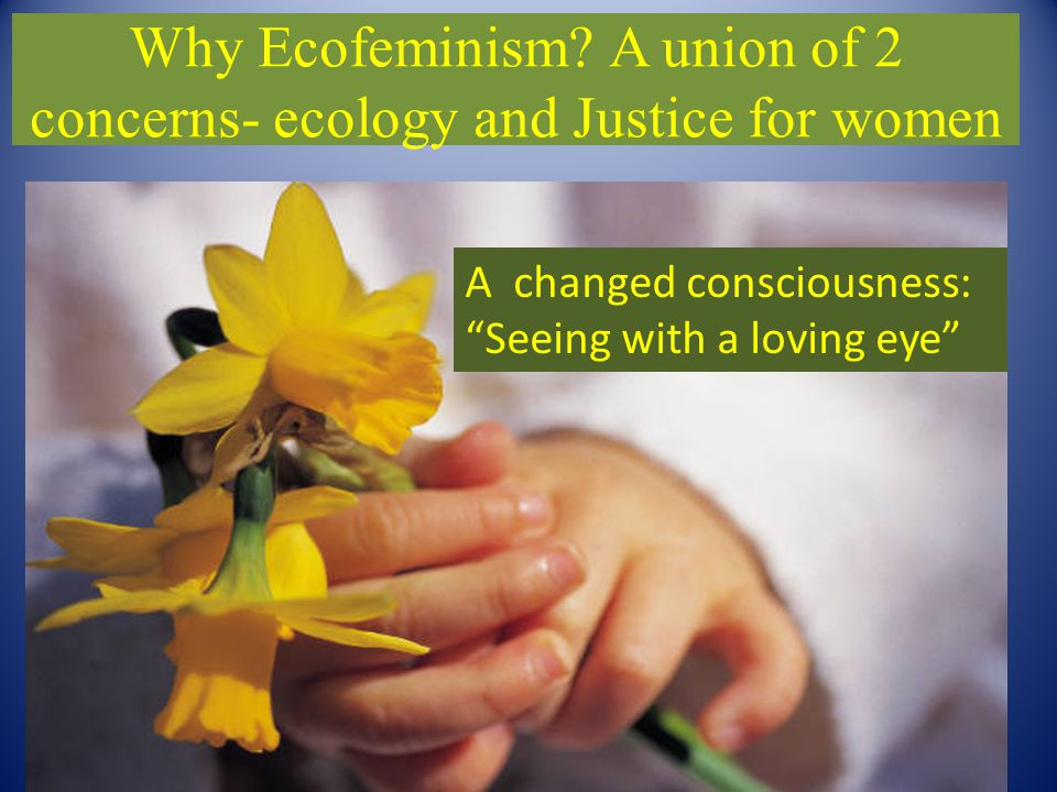 """Why Ecofeminism? A union of 2 concerns- ecology and Justice for women A changed consciousness: """"Seeing with a loving eye"""""""