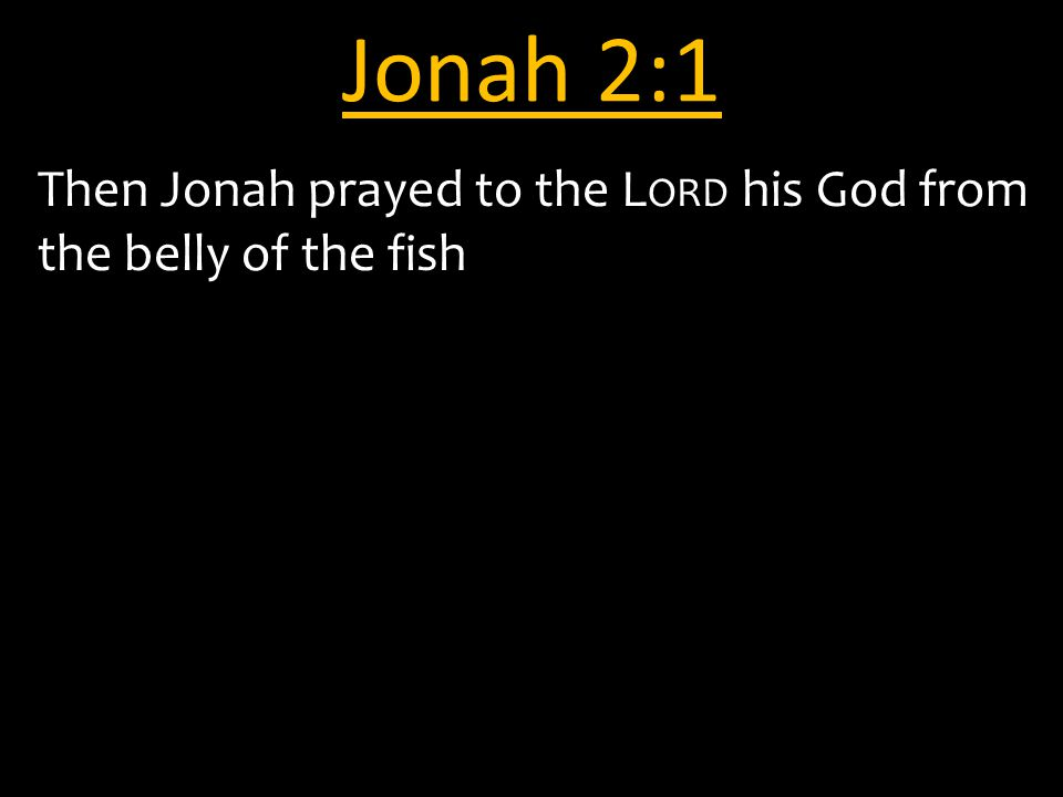Jonah 2:1 Then Jonah prayed to the L ORD his God from the belly of the fish
