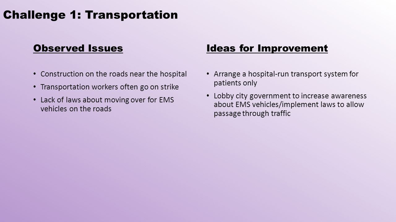 Challenge 1: Transportation Observed Issues Construction on the roads near the hospital Transportation workers often go on strike Lack of laws about moving over for EMS vehicles on the roads Ideas for Improvement Arrange a hospital-run transport system for patients only Lobby city government to increase awareness about EMS vehicles/implement laws to allow passage through traffic