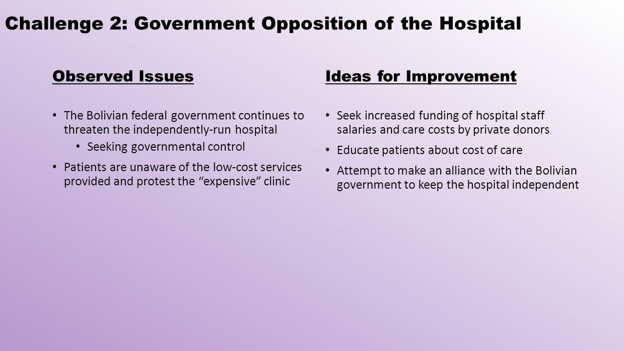 Challenge 2: Government Opposition of the Hospital Observed Issues The Bolivian federal government continues to threaten the independently-run hospital Seeking governmental control Patients are unaware of the low-cost services provided and protest the expensive clinic Ideas for Improvement Seek increased funding of hospital staff salaries and care costs by private donors Educate patients about cost of care Attempt to make an alliance with the Bolivian government to keep the hospital independent