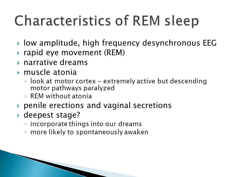  rapid eye movement (REM)  narrative dreams  muscle atonia ◦ look at motor cortex – extremely active but descending motor pathways paralyzed ◦ REM