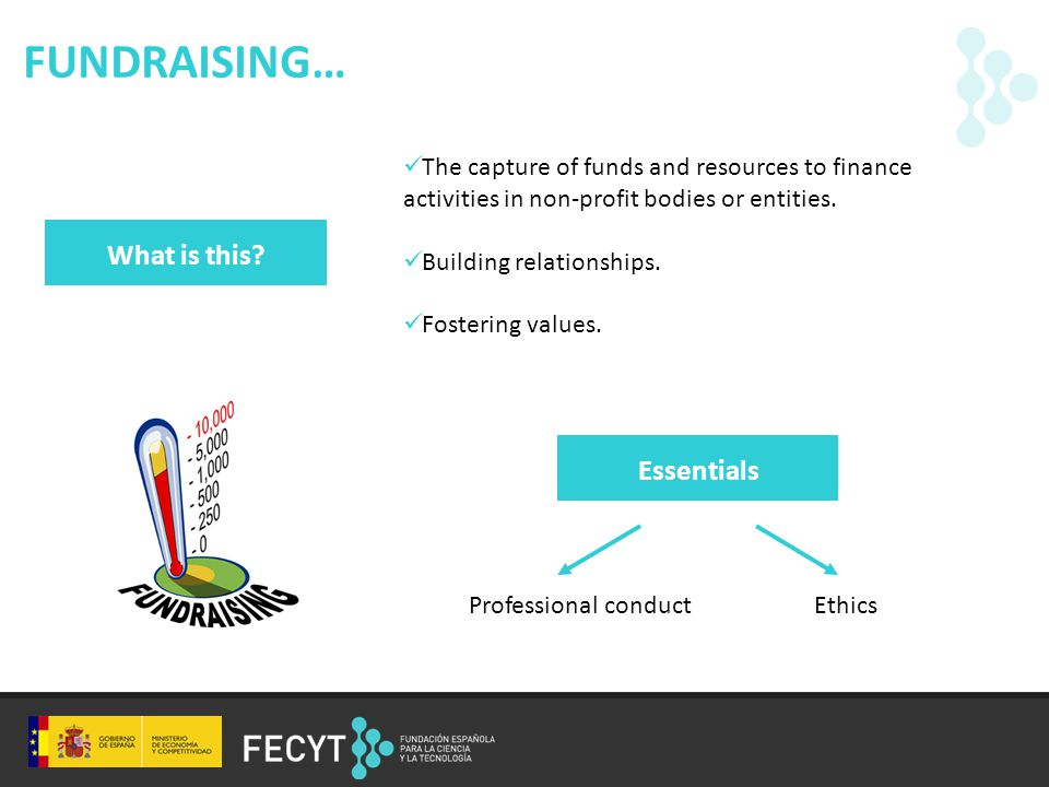 FUNDRAISING… The capture of funds and resources to finance activities in non-profit bodies or entities.