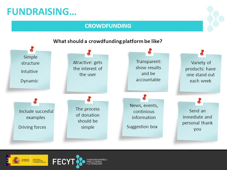 FUNDRAISING… CROWDFUNDING What should a crowdfunding platform be like.