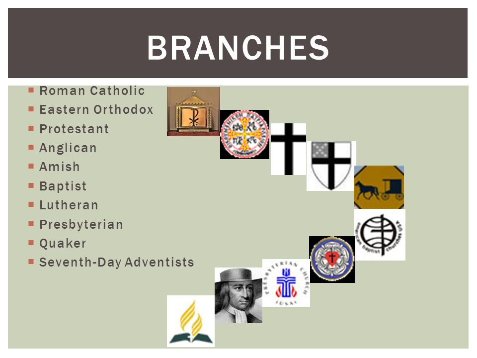  Roman Catholic  Eastern Orthodox  Protestant  Anglican  Amish  Baptist  Lutheran  Presbyterian  Quaker  Seventh-Day Adventists BRANCHES