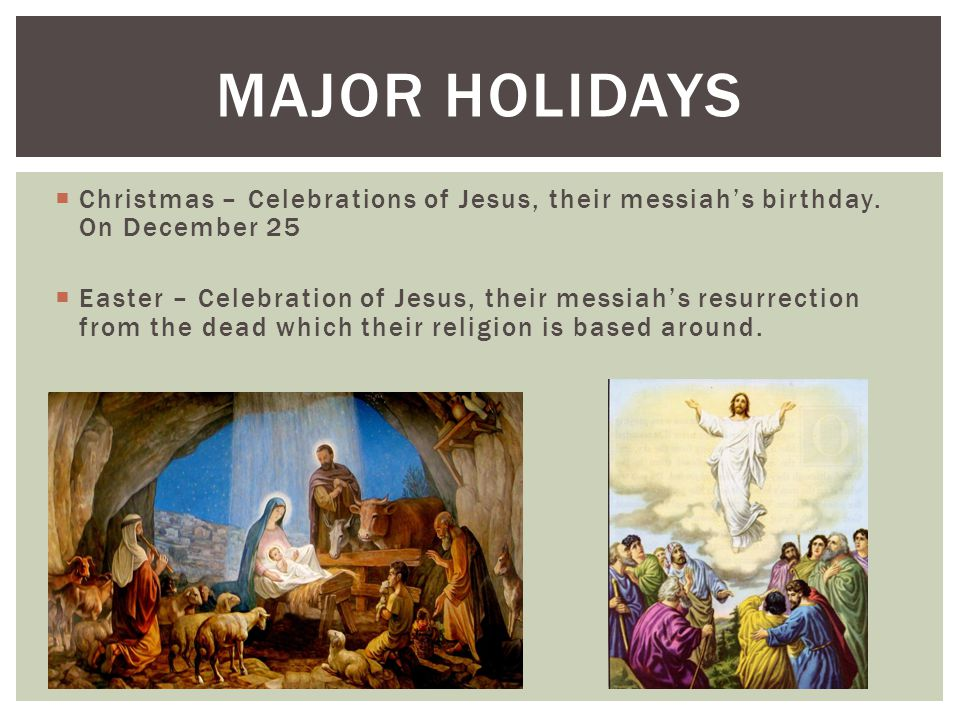  Christmas – Celebrations of Jesus, their messiah's birthday. On December 25  Easter – Celebration of Jesus, their messiah's resurrection from the d