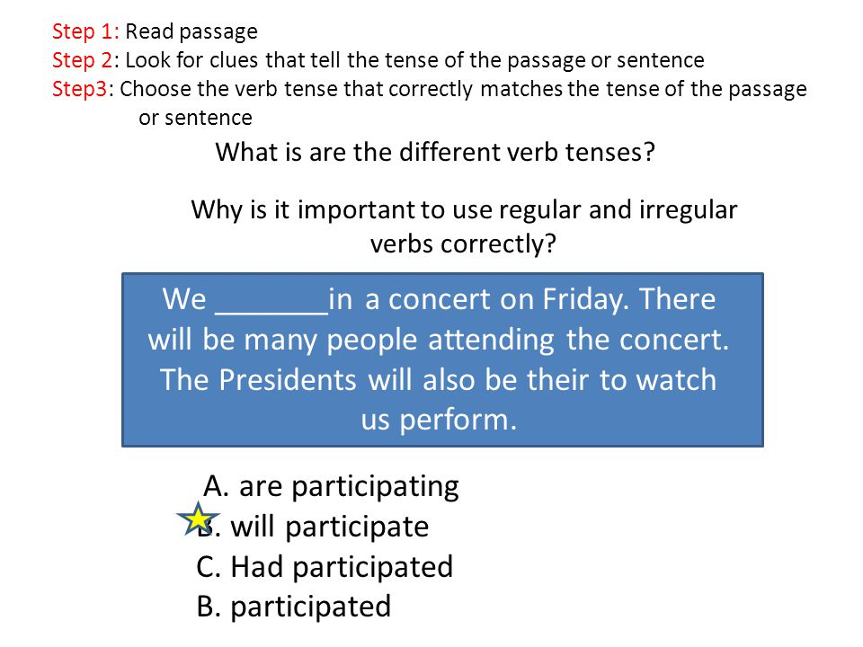 What is are the different verb tenses.