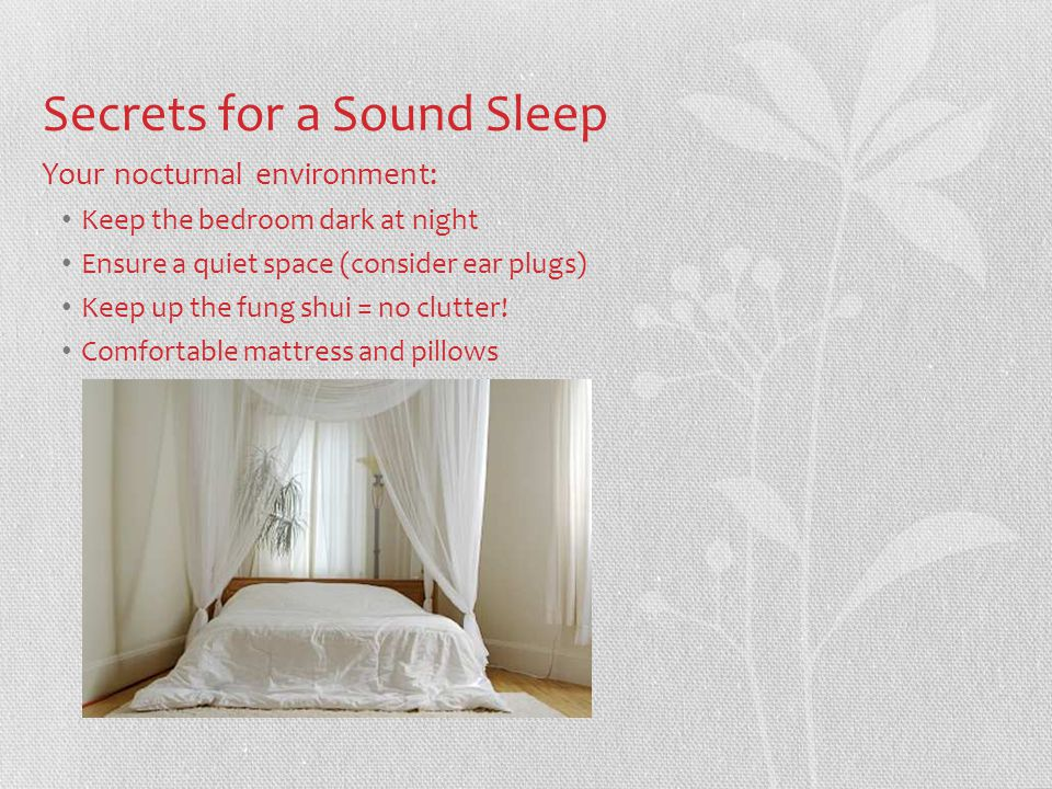 Secrets for a Sound Sleep Your nocturnal environment: Keep the bedroom dark at night Ensure a quiet space (consider ear plugs) Keep up the fung shui = no clutter.