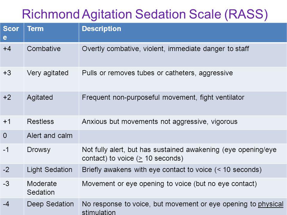 Scor e TermDescription +4CombativeOvertly combative, violent, immediate danger to staff +3Very agitatedPulls or removes tubes or catheters, aggressive
