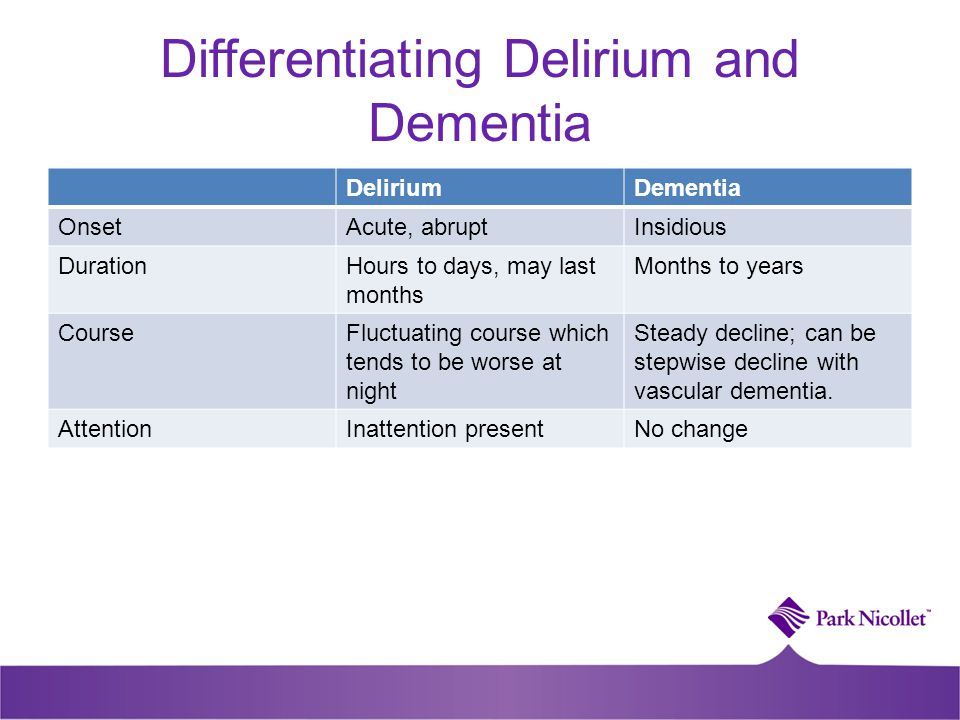 Differentiating Delirium and Dementia DeliriumDementia OnsetAcute, abruptInsidious DurationHours to days, may last months Months to years CourseFluctu