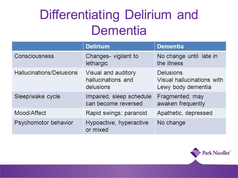 Differentiating Delirium and Dementia DeliriumDementia ConsciousnessChanges- vigilant to lethargic No change until late in the illness Hallucinations/