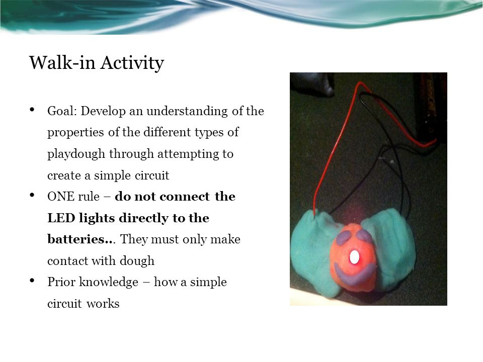 Walk-in Activity Goal: Develop an understanding of the properties of the different types of playdough through attempting to create a simple circuit ONE rule – do not connect the LED lights directly to the batteries...