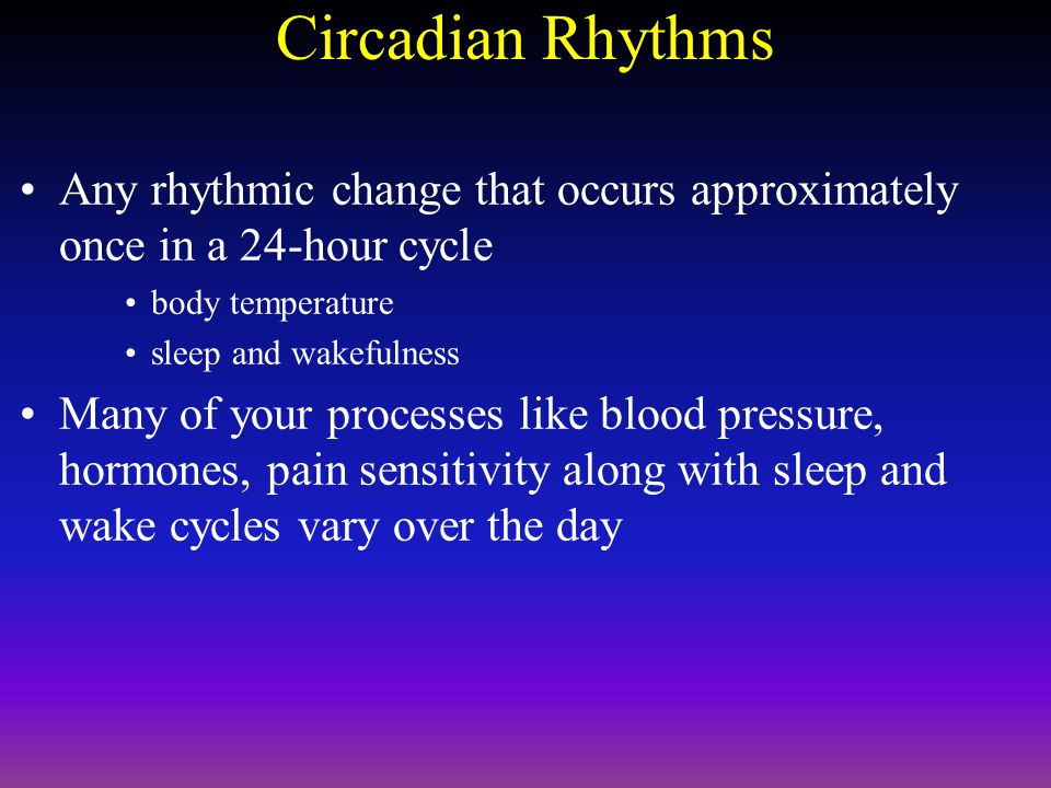 Circadian Rhythms Any rhythmic change that occurs approximately once in a 24-hour cycle body temperature sleep and wakefulness Many of your processes like blood pressure, hormones, pain sensitivity along with sleep and wake cycles vary over the day