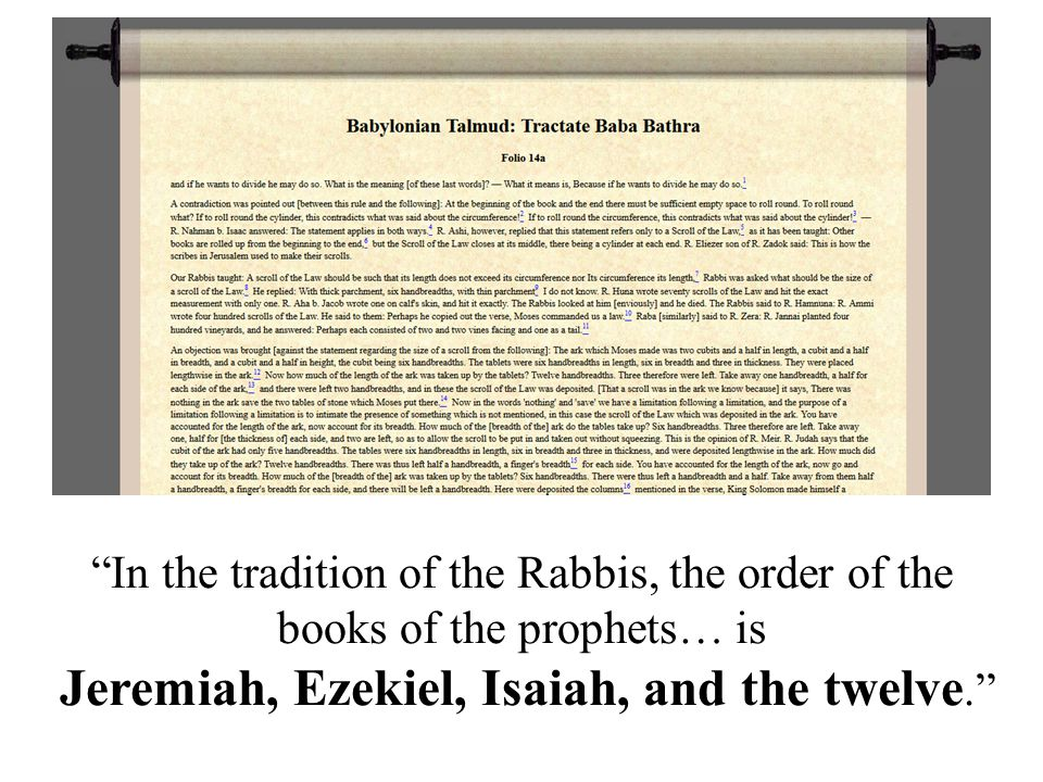 In the tradition of the Rabbis, the order of the books of the prophets… is Jeremiah, Ezekiel, Isaiah, and the twelve.