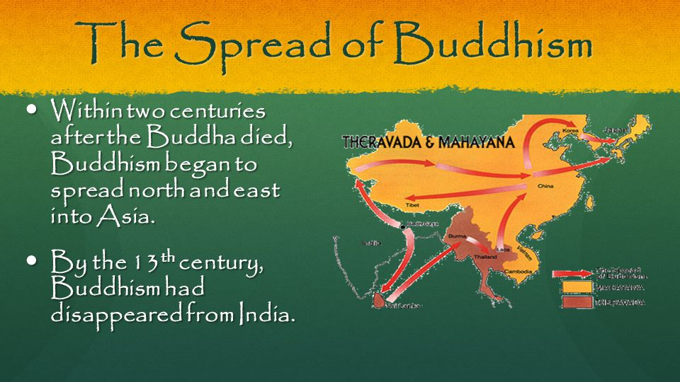 The Spread of Buddhism Within two centuries after the Buddha died, Buddhism began to spread north and east into Asia. Within two centuries after the B