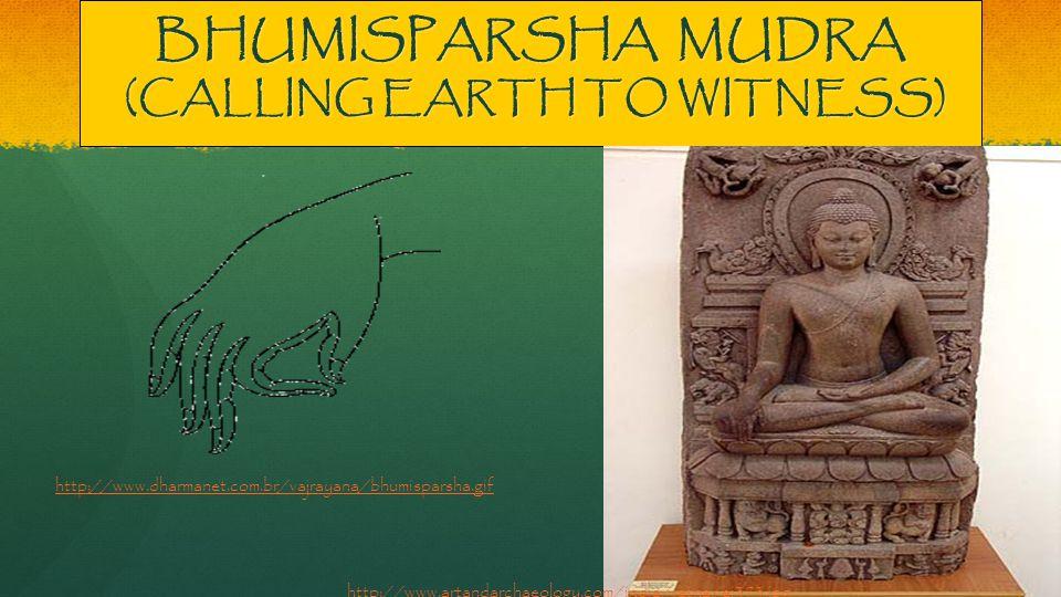 BHUMISPARSHA MUDRA (CALLING EARTH TO WITNESS) http://www.artandarchaeology.com/india/ratna/ei373.jpg http://www.dharmanet.com.br/vajrayana/bhumisparsha.gif