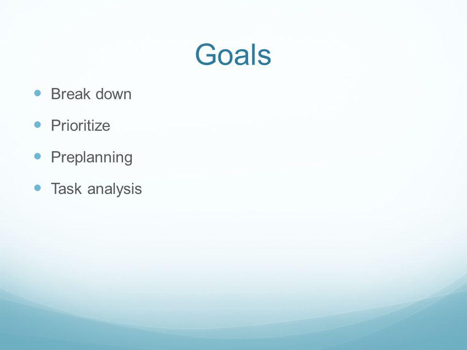 Goals Break down Prioritize Preplanning Task analysis