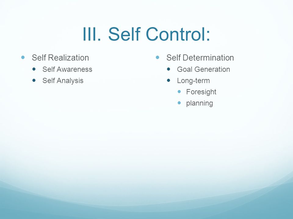 III. Self Control: Self Realization Self Awareness Self Analysis Self Determination Goal Generation Long-term Foresight planning