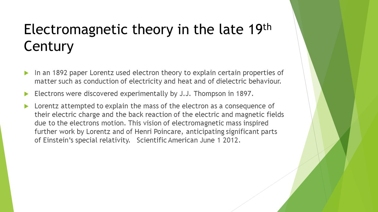 Electromagnetic theory in the late 19 th Century