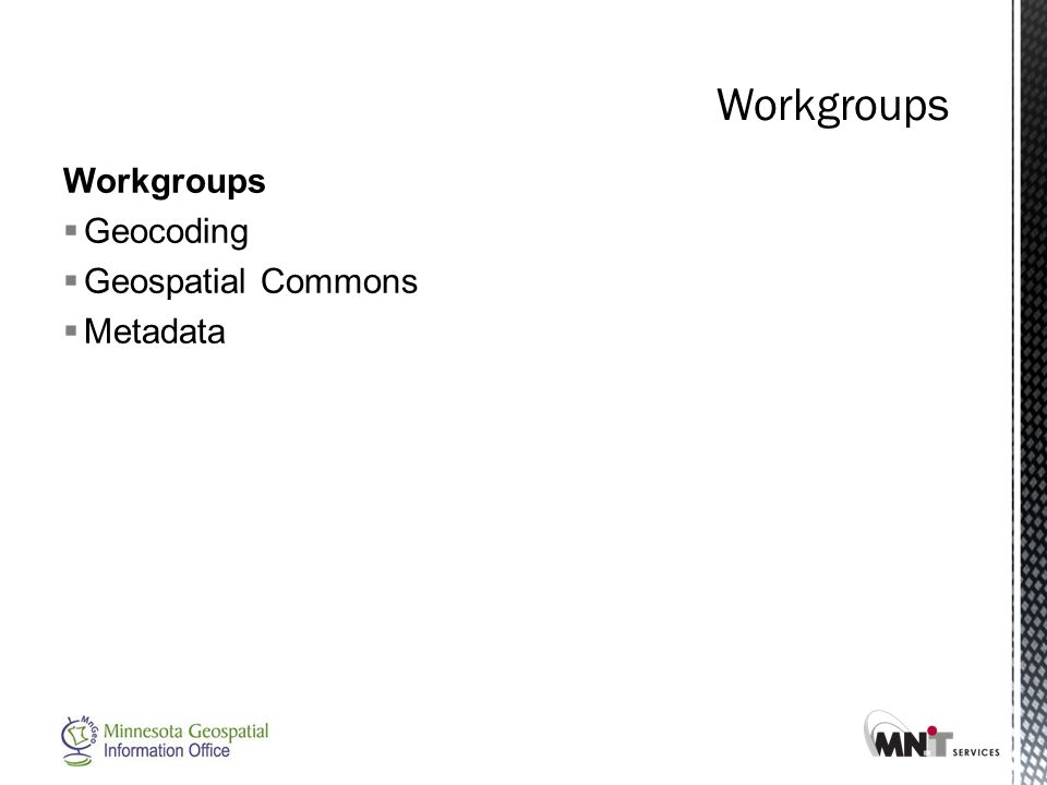 Workgroups  Geocoding  Geospatial Commons  Metadata