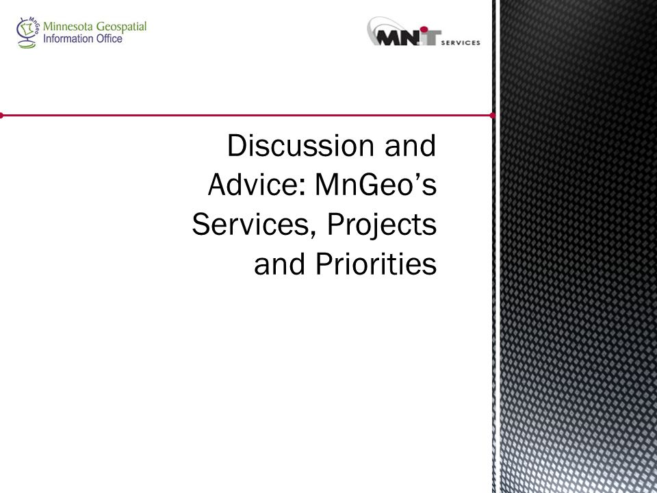 Discussion and Advice: MnGeo's Services, Projects and Priorities