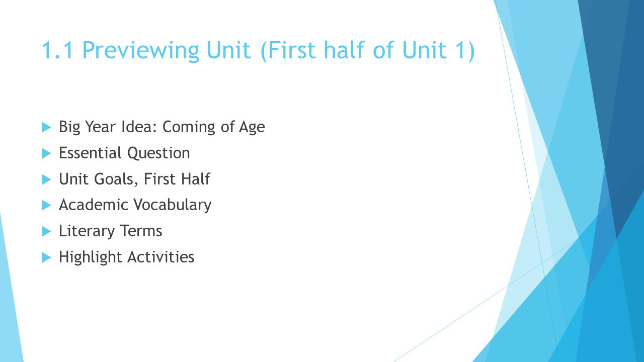 1.1 Previewing Unit (First half of Unit 1)  Big Year Idea: Coming of Age  Essential Question  Unit Goals, First Half  Academic Vocabulary  Literary Terms  Highlight Activities