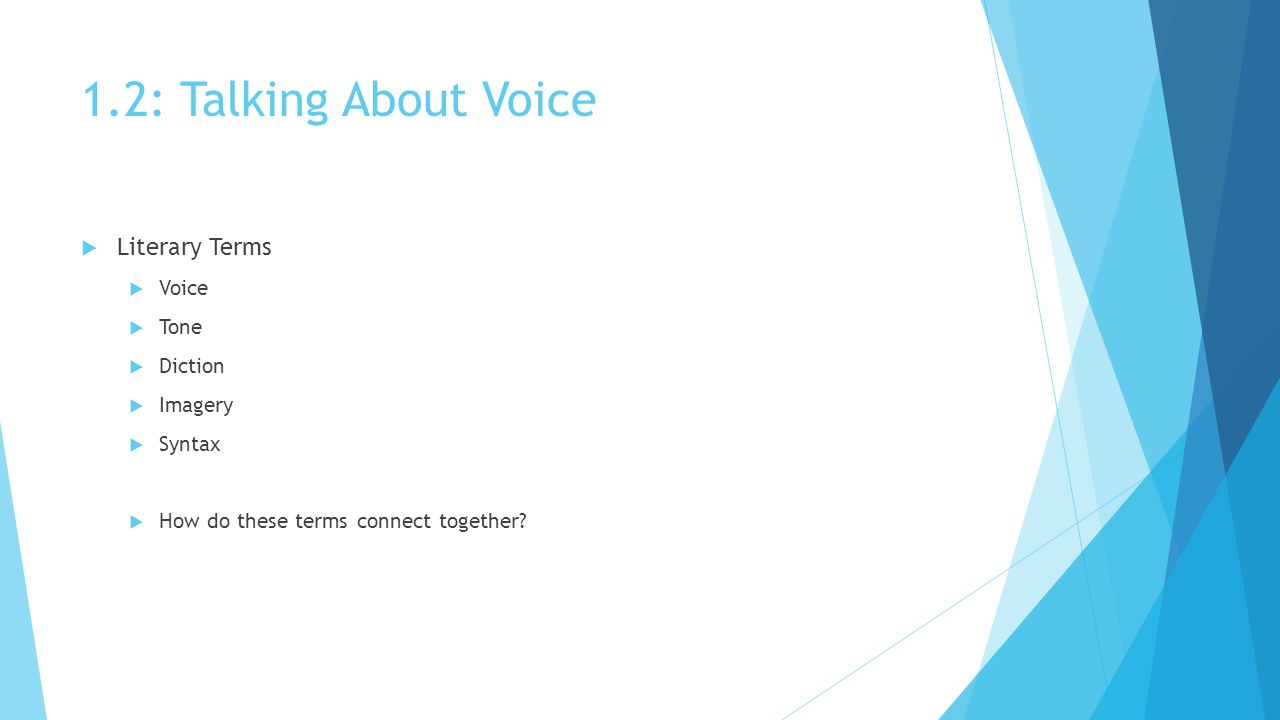 1.2: Talking About Voice  Literary Terms  Voice  Tone  Diction  Imagery  Syntax  How do these terms connect together