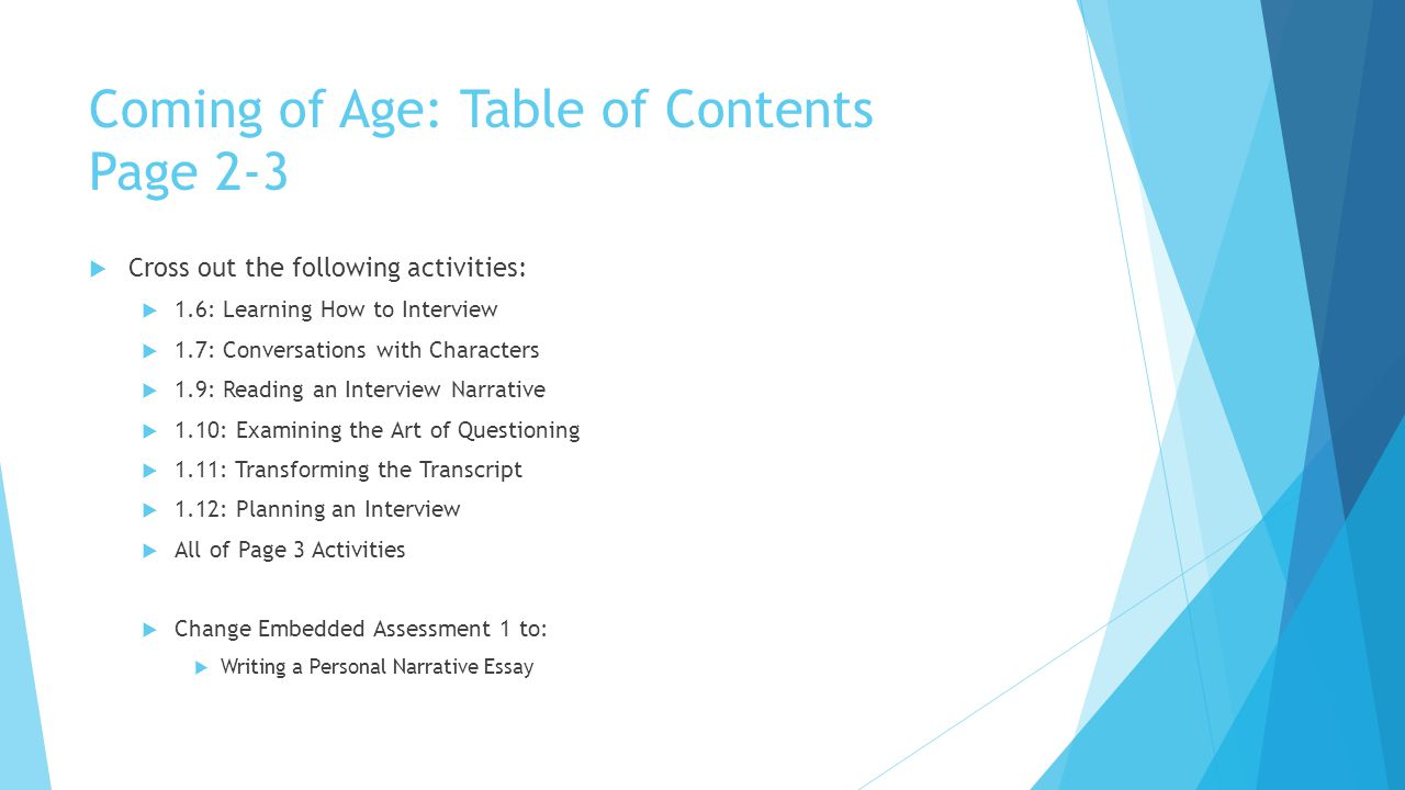 Coming of Age: Table of Contents Page 2-3  Cross out the following activities:  1.6: Learning How to Interview  1.7: Conversations with Characters  1.9: Reading an Interview Narrative  1.10: Examining the Art of Questioning  1.11: Transforming the Transcript  1.12: Planning an Interview  All of Page 3 Activities  Change Embedded Assessment 1 to:  Writing a Personal Narrative Essay