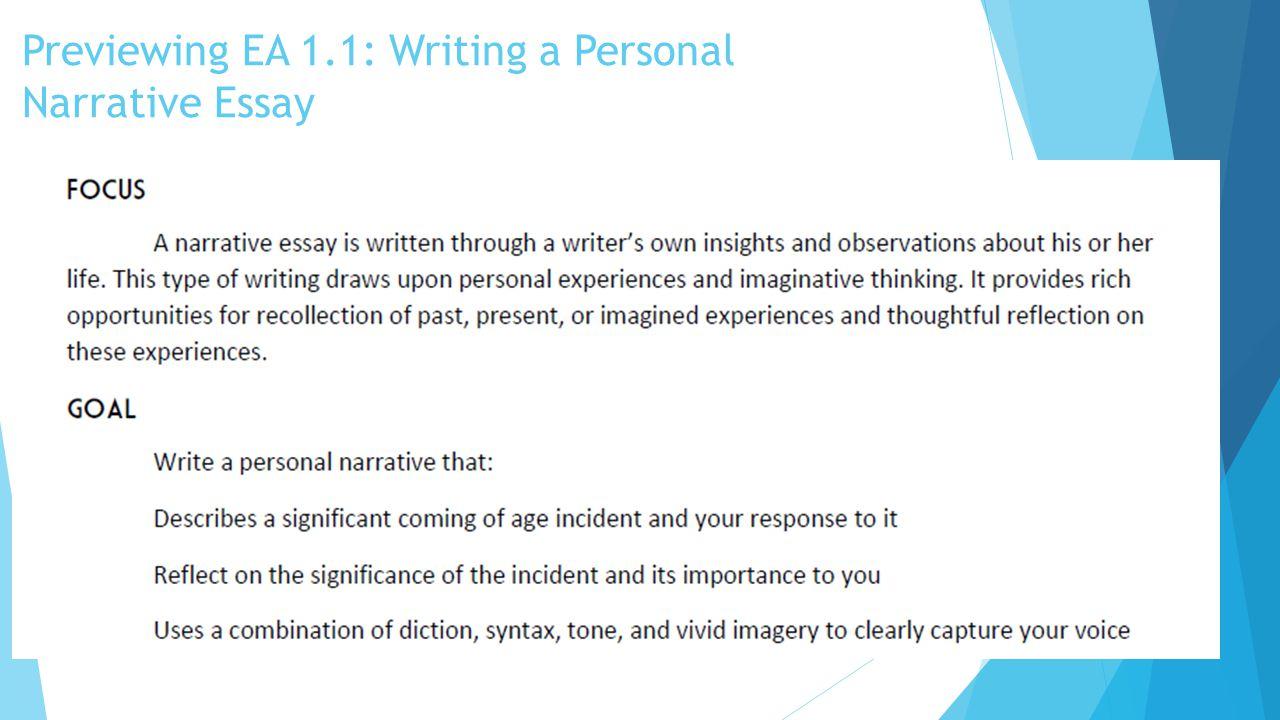 EA 1.1 Rubric Primary Focus: Development of Ideas