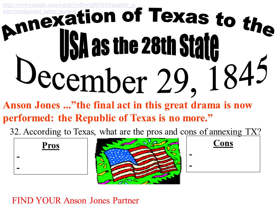 "Anson Jones...""the final act in this great drama is now performed: the Republic of Texas is no more."" http://www.youtube.com/watch?v=fJwrQP03YSY&safet"