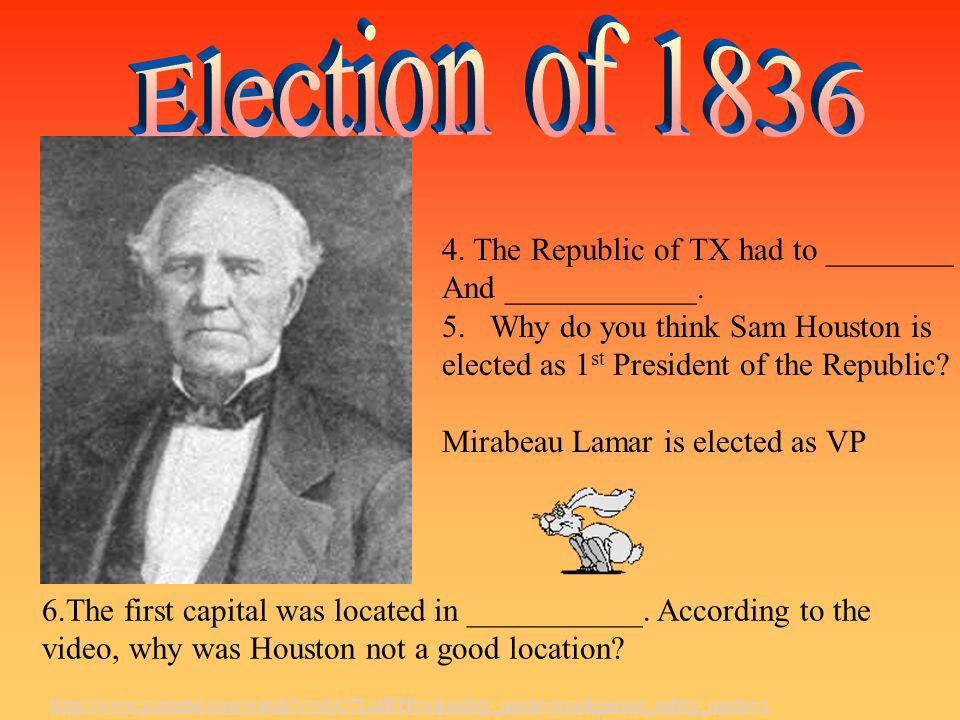 4. The Republic of TX had to ________ And ____________. 5.Why do you think Sam Houston is elected as 1 st President of the Republic? Mirabeau Lamar is