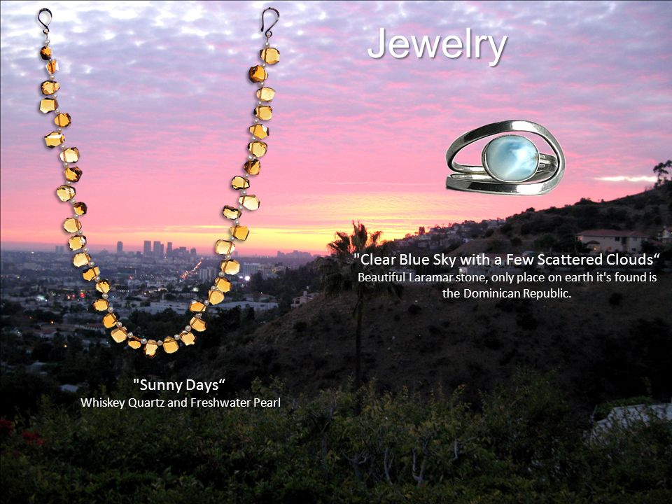 Jewelry Sunny Days Whiskey Quartz and Freshwater Pearl Whiskey Quartz and Freshwater Pearl Clear Blue Sky with a Few Scattered Clouds Beautiful Laramar stone, only place on earth it s found is the Dominican Republic.