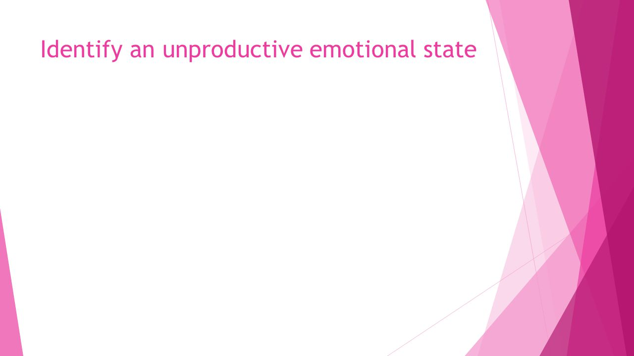 Identify an unproductive emotional state