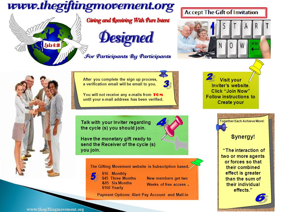 """www.thegiftingmovement.org Visit your Inviter's website. Click """"Join Now"""" Follow instructions to Create your New members get two Weeks of free access."""