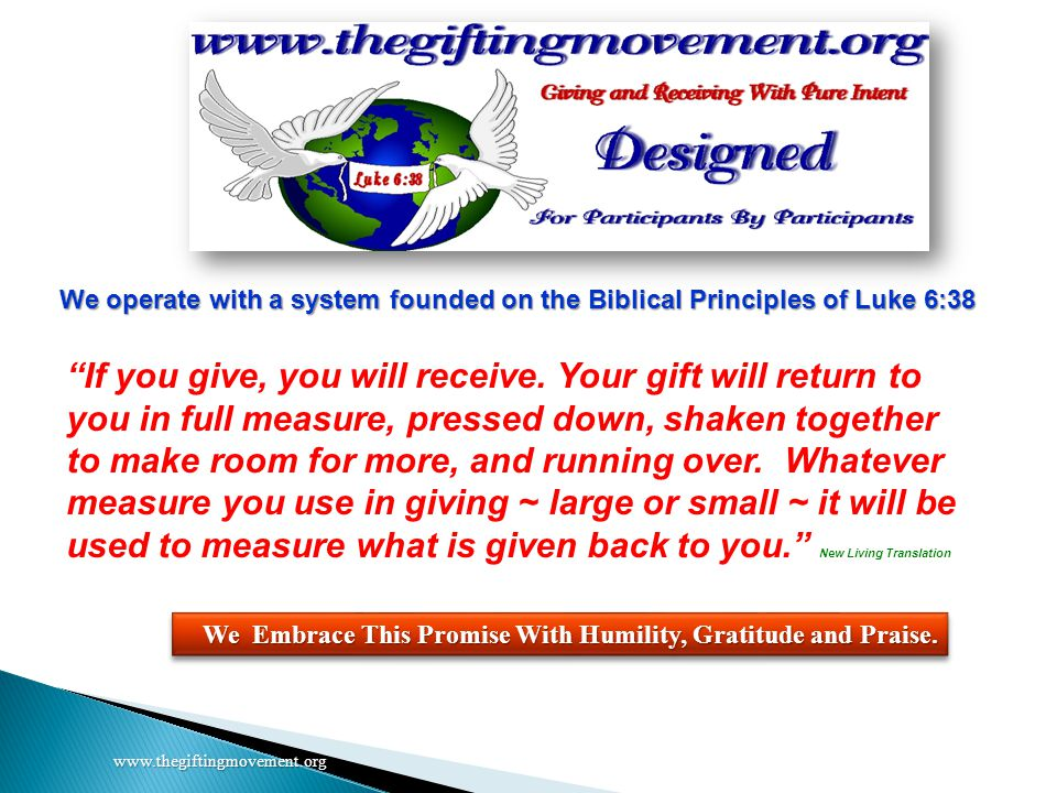 www.thegiftingmovement.org Visit your Inviter's website.
