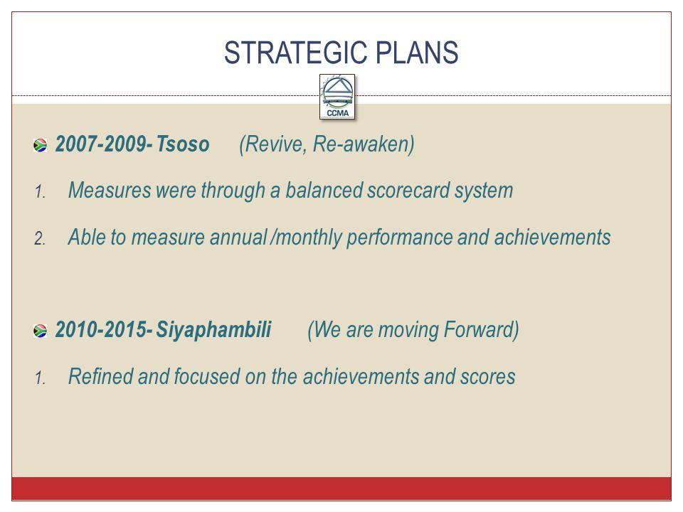 2007-2009- Tsoso (Revive, Re-awaken) 1.Measures were through a balanced scorecard system 2.
