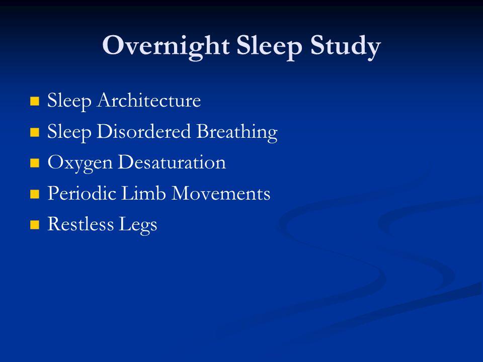 Overnight Sleep Study Sleep Architecture Sleep Disordered Breathing Oxygen Desaturation Periodic Limb Movements Restless Legs