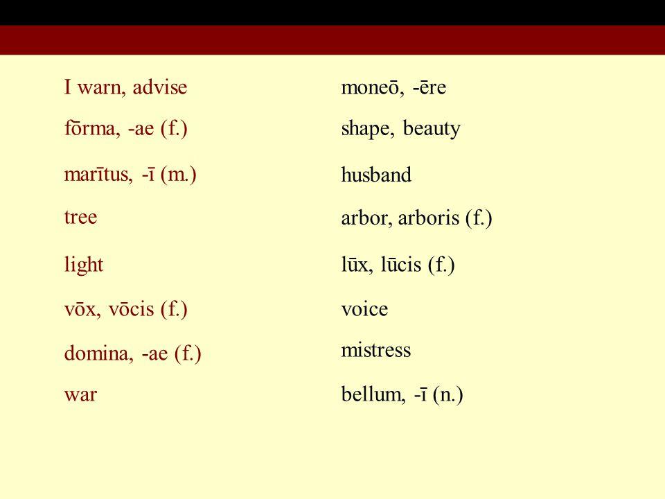 I warn, advise fōrma, -ae (f.) marītus, -ī (m.) tree light moneō, -ēre shape, beauty husband arbor, arboris (f.) lūx, lūcis (f.) vōx, vōcis (f.) domina, -ae (f.) war voice mistress bellum, -ī (n.)