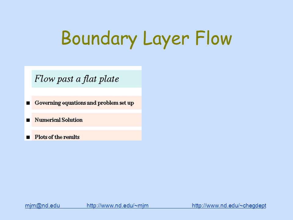 mjm@nd.edu http://www.nd.edu/~mjm http://www.nd.edu/~chegdepthttp://www.nd.edu/~mjmhttp://www.nd.edu/~chegdept Boundary Layer Flow
