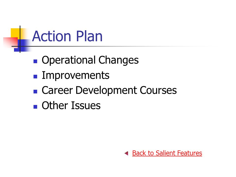 Action Plan Operational Changes Improvements Career Development Courses Other Issues Back to Salient Features