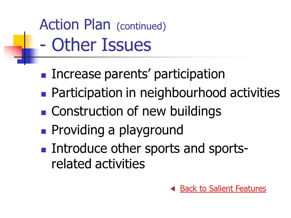 Action Plan (continued) - Other Issues Increase parents' participation Participation in neighbourhood activities Construction of new buildings Providing a playground Introduce other sports and sports- related activities Back to Salient Features