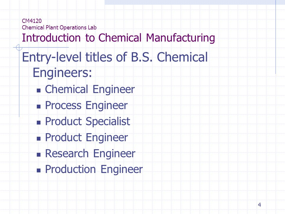 4 CM4120 Chemical Plant Operations Lab Introduction to Chemical Manufacturing Entry-level titles of B.S.